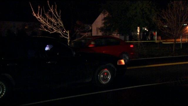 Scene on Mt. Holly Road, Fairdale, where 12-year-old boy was shot Tuesday evening. Bennett Haeberle/WDRB News photo.