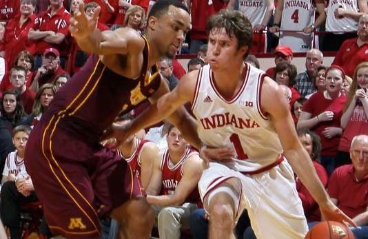 Jordan Hulls made four three-point shots as Indiana toppled Minnesota, 88-81, Saturday.