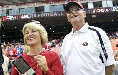 Jack and Jackie Harbaughs watched IU defeat Penn State Wednesday night as they make their way to New Orleans for the Super Bowl.