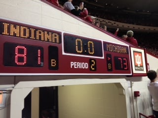 Five Indiana players scored in double figures as the Hoosiers toppled top-ranked Michigan, 81-73, Saturday.