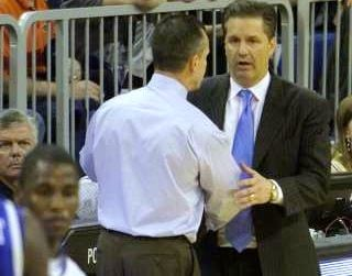 Billy Donovan (left) and John Calipari will meet with first place in the SEC on the line Tuesday night.