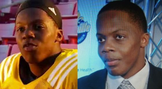 Teddy Bridgewater as a freshman, left, and last month at an awards banquet, right.