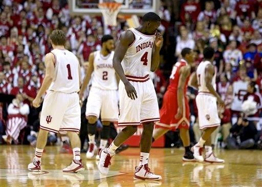 Indiana junior Victor Oladipo (4) struggled with foul trouble as the Hoosiers lost to Ohio State on Senior Night.