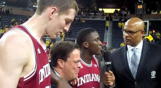 Cody Zeller (from left), Tom Crean and Victor Oladipo discuss Indiana's Big Ten clinching victory over Michigan with Clark Kellogg of CBS.