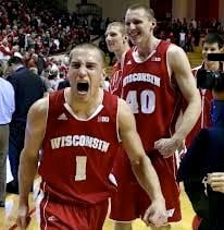 The Wisconsin players celebrated in Assembly Hall after the Badgers won their 11th straight game against Indiana.