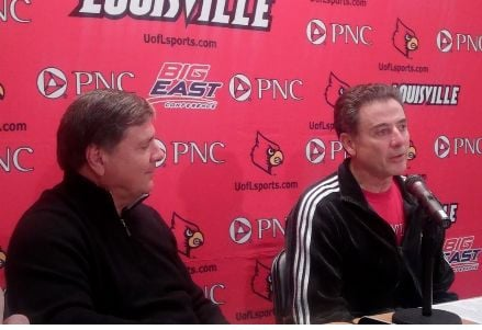 U of L athletic director Tom Jurich (left) will need a private plane to watch Rick Pitino's men's team as well as Jeff Walz' women's team chase national titles.