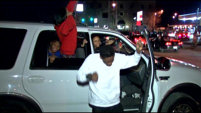 Fans on Cardinal Blvd. Saturday night at U of L campus.