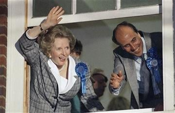 (AP Photo/File). FILE - In this June 12, 1987 file photo, British Prime Minister Margaret Thatcher waves to supporters from Conservative Party headquarters in London after claiming victory in Britain's general election.