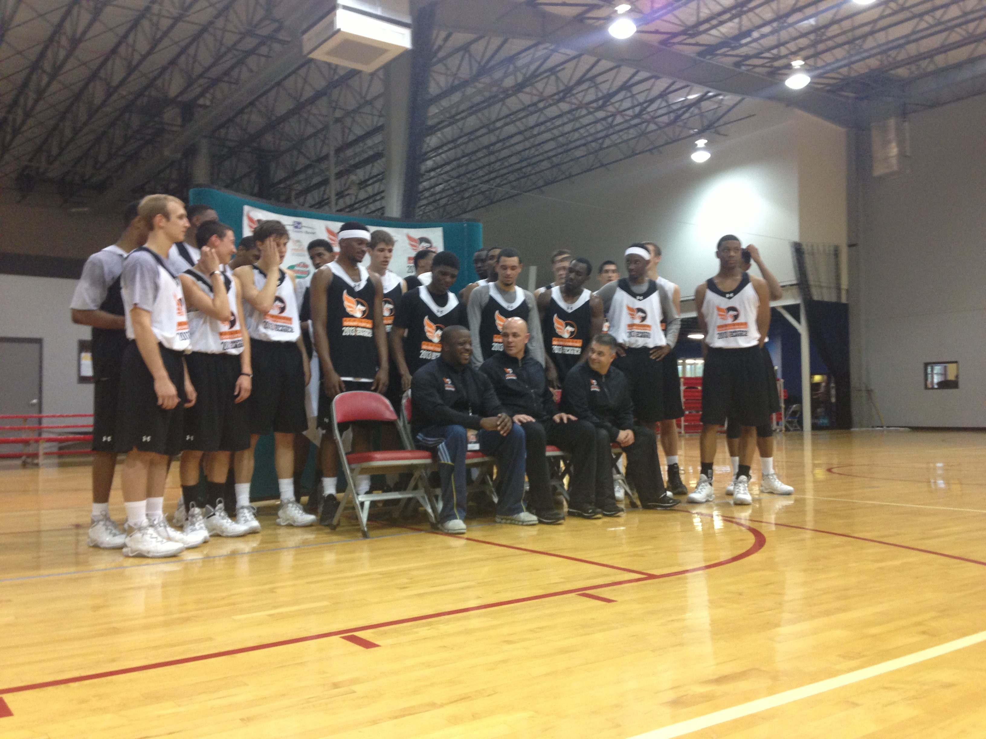 Team photo of 40th KDF Basketball Classic, which includes 10 players headed to Louisville, Kentucky, Indiana, and Bellarmine next season