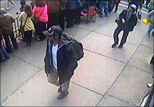 Photo of suspects wanted for questioning in connection with Boston Marathon bombings, according to F.B.I.