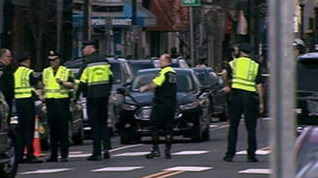 Police in Boston blocked roads after one suspect in the marathon bombing was killed early Friday morning.