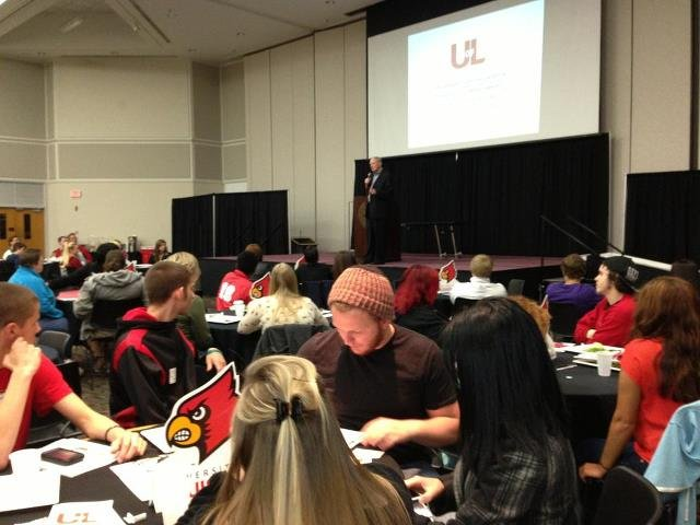 Prospective students signing up for orientation at the University of Louisville.