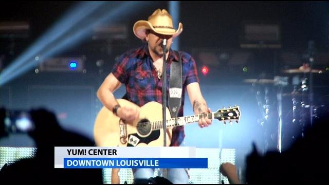 Country music star Jason Aldean performs at the KFC Yum! Center