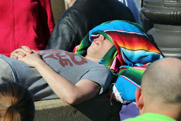 This teen decided to catch some 'z's during the 2013 Thunder Over Louisville air show, put on by the Kentucky Derby Festival.
