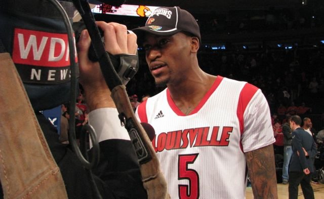 Louisville's Kevin Ware talks with WDRB's Steve Andress after the Big East Tournament title game.