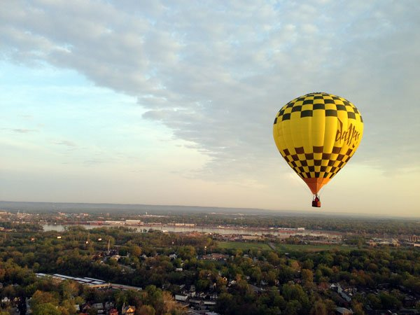 The Dallas Balloon, with pilot Dallas Beall at the helm (even though balloons don't have a helm.)