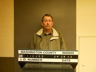 Washington Co., Ind., sheriff's deputy Larry Motsinger in booking photo from Washington Co. Jail.