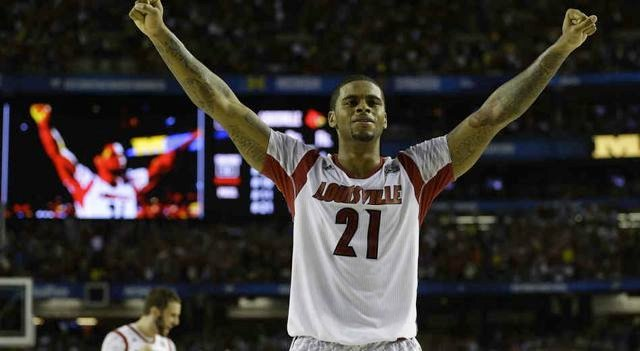 Chane Behanan celebrates during the final seconds of Louisville's NCAA championship victory over Michigan.