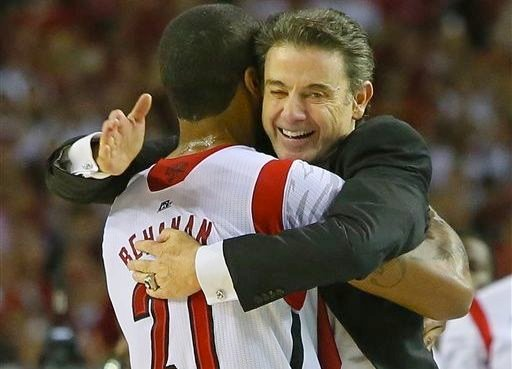 Chane Behanan and Rick Pitino embrace in the final seconds of Louisville's national championship victory.
