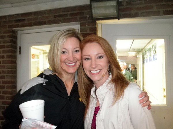WDJX radio personality Kelly K poses with WDRB in the Morning anchor Candyce Clifft at Churchill Downs.