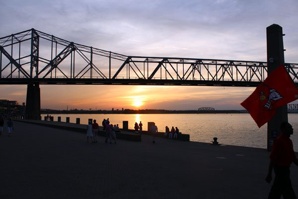 The sun sets moments after the Belle of Cincinnati docks, beating out the Belle of Louisville in the 2013 Great Steamboat Race.