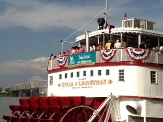 Passengers aboard the Belle of Louisville get ready for the big race