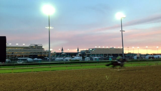 """Sunrise on the backside at Churchill Downs on the day before Oaks - now known as """"Louisville's Day at the Races."""""""