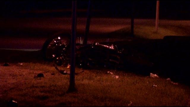Motorcycle at fatal crash scene, Industrial Blvd. near Fern Valley Road, taken early Thursday morning.