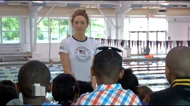 Some of the best Olympic swimmers in the world were in Louisville Monday morning, teaching students from eight local middle schools about water safety.