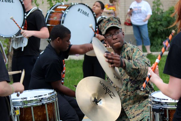The Fern Creek High School band played to celebrate the JROTC's championship win.