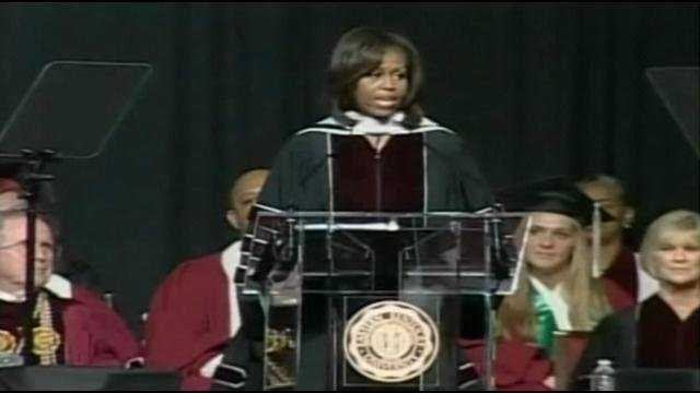 First Lady Michelle Obama gives the commencement speech at Eastern Kentucky University's graduation.