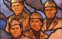 A detail of a stained glass window depicting The Four Chaplains, which hangs in the Pentagon.