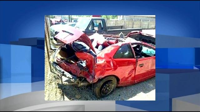 Jenevieve Elliott wrecked this car and was trapped for two nights after it veered off the road and down a steep embankment where it came to rest near a creek. She managed to crawl to the road where she flagged down a passerby.