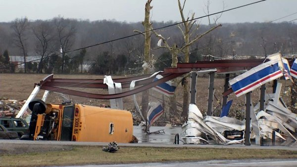 Destruction was widespread in Henryville, Ind. last year