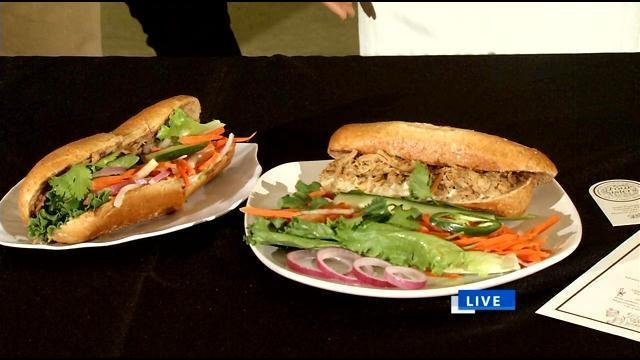 "Vietnamese banh mi sandwich from ""Four Sisters"" restaurant"