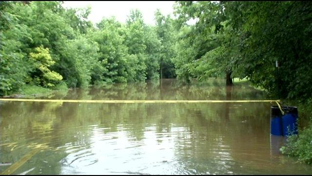 This road in Cherokee Park near Frisbee Field resembled a small lake.