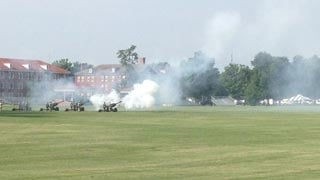 The Salute to the Nation ceremony began with the firing of 51 cannon rounds