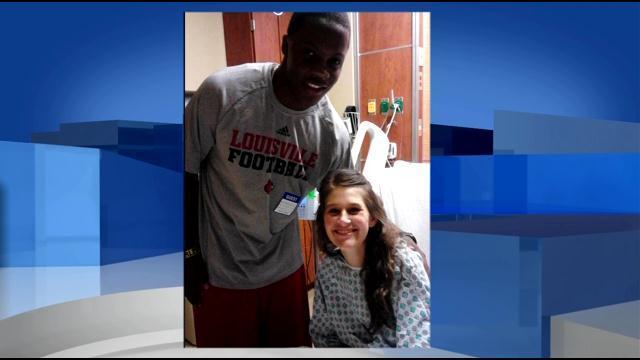 Teddy Bridgewater with Savannah Price in her hospital room