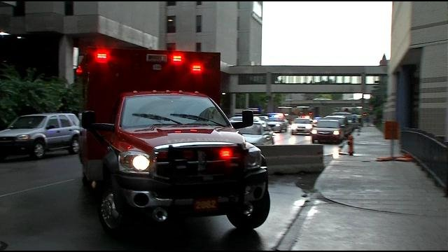 An ambulance escorted by police rushed the boy to Kosair Children's Hospital in downtown Louisville.