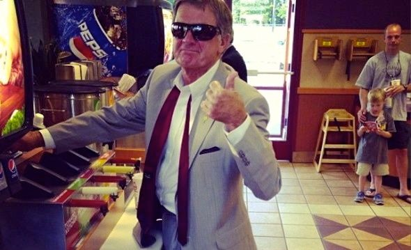 South Carolina coach Steve Spurrier had to stop for some refreshments after his appearance at SEC Football Media Days.