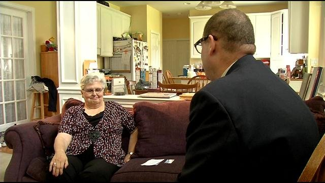 Judy Prell speaks with WDRB's Chris Turner at her home, Aug. 2. WDRB News