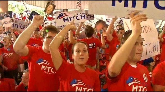 """Kentucky U.S. Sen. Mitch McConnell brought a load of supporters wearing """"Team Mitch"""" shirts."""
