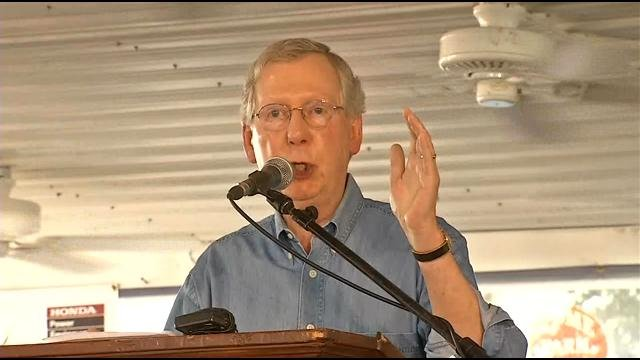 McConnell never mentioned his opponents by name, instead taking aim at President Barack Obama and Senate Majority Leader Harry Reid.
