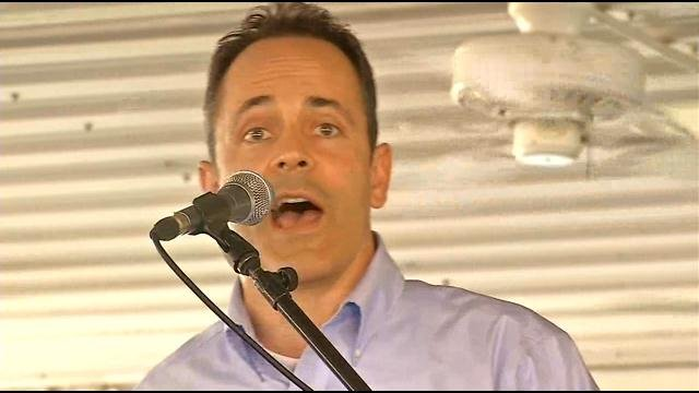 """Republican Tea Party candidate Matt Bevin took advantage of McConnell's disappearance, shouting """"Where's Mitch?"""""""