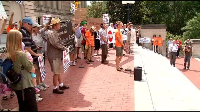 PIpeline protesters at Ky. State Capitol in Frankfort, Aug. 8.  Dominik Fuhrmann/WDRB News