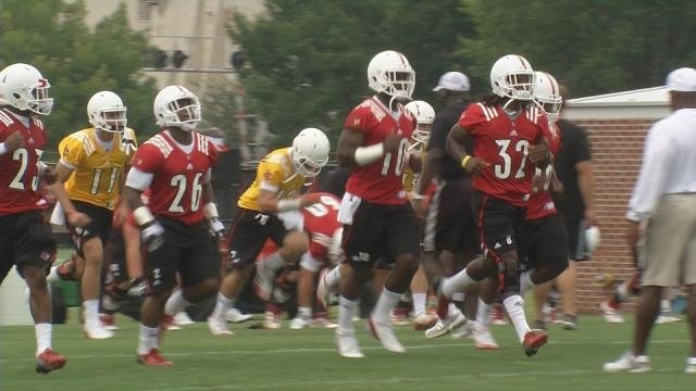 Louisville running backs (left to right) Michael Dyer, Dominique Brown, and Senorise Perry will battle for playing time.