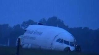 Part of the plane's nose remained intact after the crash