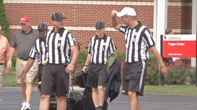 The officiating crew at Louisville football's scrimmage Saturday morning.