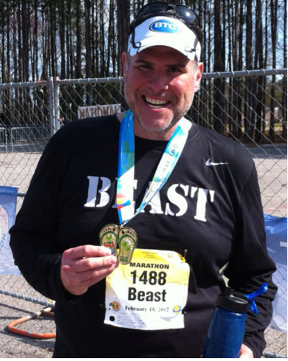 "Mark ""The Beast"" Rucker after running one of his first races"