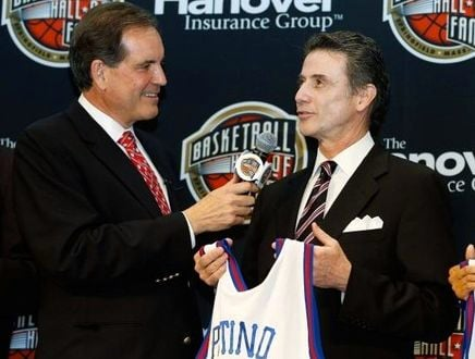Rick Pitino (with Jim Nantz) has delivered many valuable lessons on his journey to the Basketball Hall of Fame this weekend.